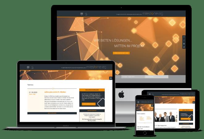 Referenzabbildung: Webseite Milestones Unternehmensberatung