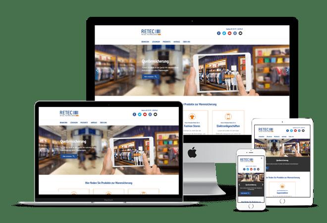 Referenzabbildung: Webseite der Retec Warensicherung
